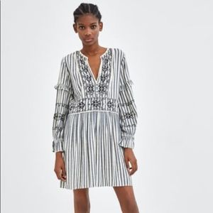 NWOT Zara | Embroidered Striped Dress